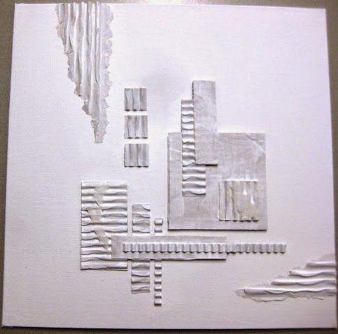 Collage met ribbelkarton op een canvasboard, afgewerkt met 'crackeleer'-pasta en acrylverf Het ribbelkarton komt van oude dozen. Wan...