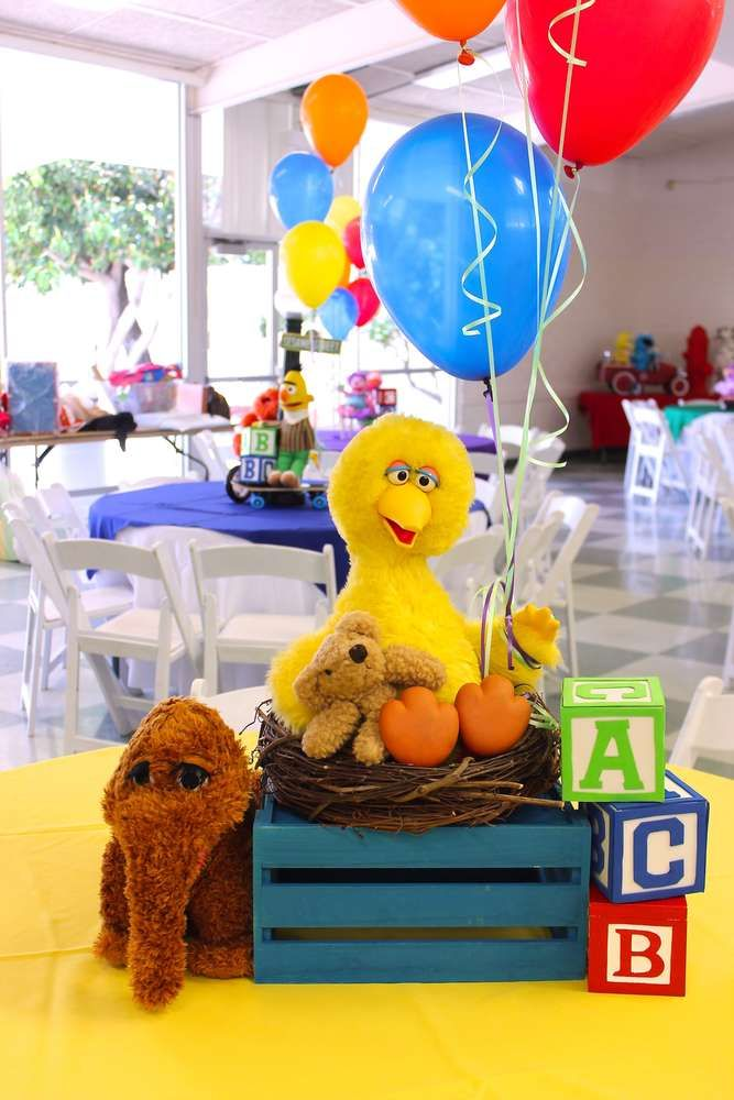 Fun centerpiece at a Sesame Street birthday party! See more party ideas at CatchMyParty.com!
