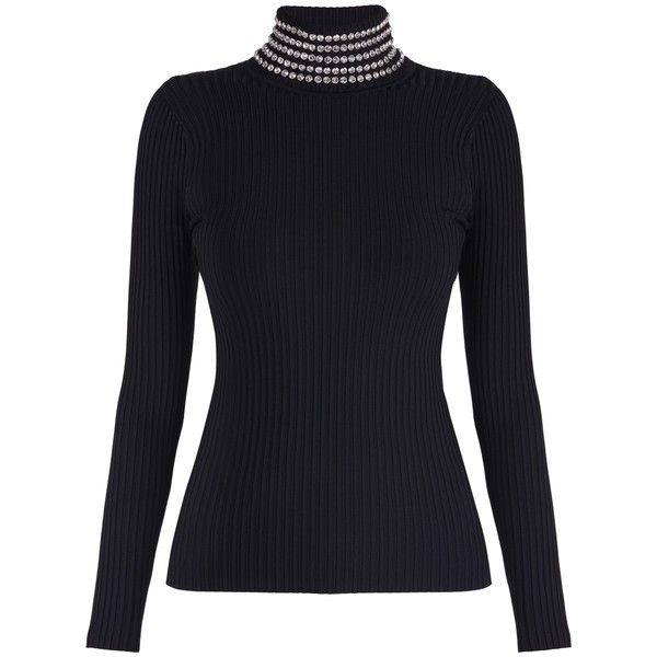 Alexander Wang Crystal Turtle Neck Top ($366) ❤ liked on Polyvore featuring tops, black, long sleeve tops, sweaters, long sleeve turtleneck, jersey top, studded top, long sleeve turtleneck top and alexander wang