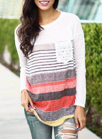 Trendy Jewel Neck Long Sleeve Colorful Striped Irregular T-Shirt For Women