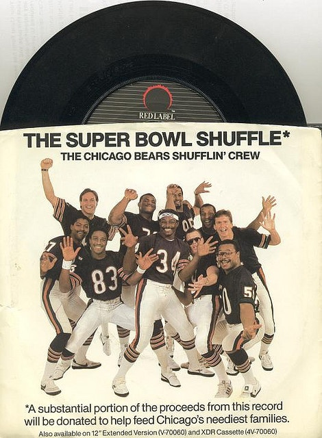 """45"""" single for the 1985 Chicago Bears Shufflin' Crew's ever awesome Super Bowl Shuffle.    Super Bowl XX was the first one I remember watching all the way through. It was also the first year I really started liking the NFL. The Bears were my favorite t   Bear Down Chicago Bears!"""