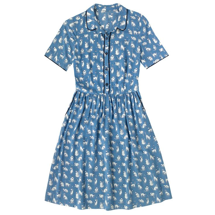 Mono Cats Viscose Piped Shirt | size 10 Dresses | CathKidston
