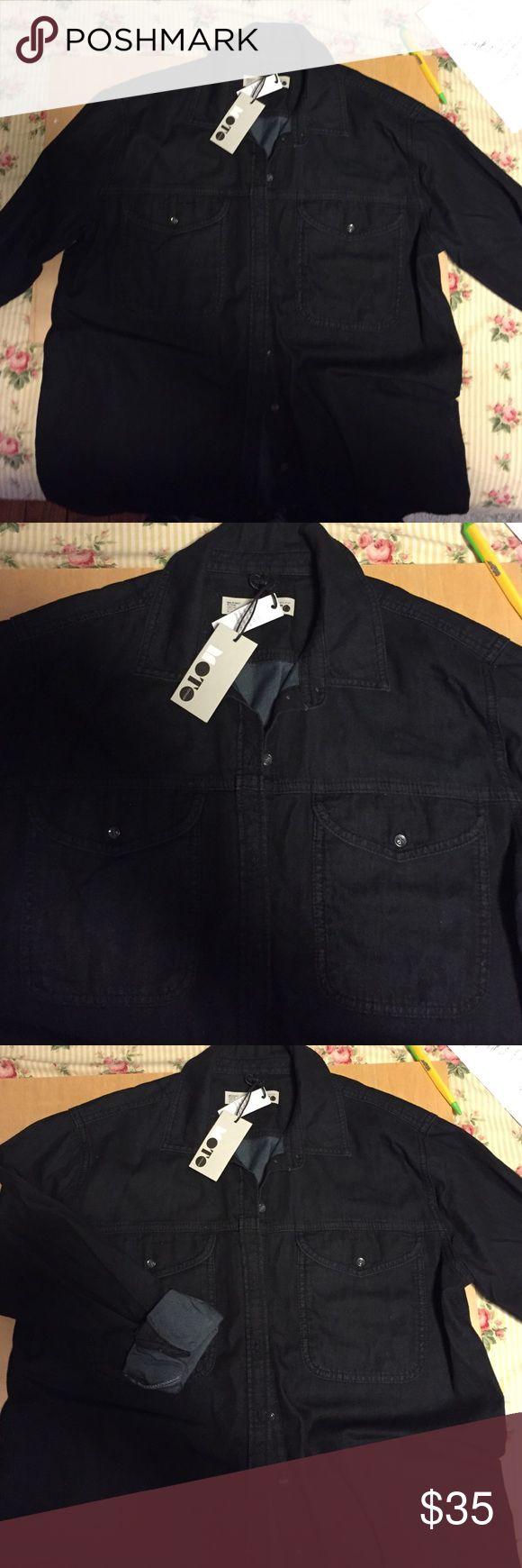 Ladies denim shirt Top shop Black denim shirt button up Topshop Tops Button Down Shirts
