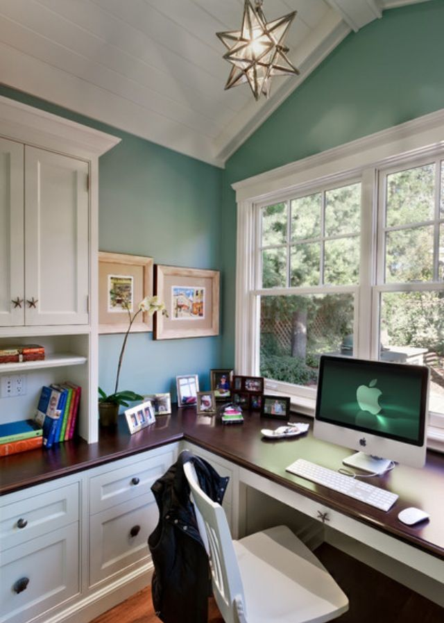 Home office - connect window storage with desk, simplify and refinish cabinets to highlight window view.