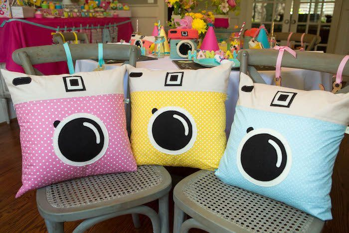 Camera pillows from Photography + Instagram Camera Themed Birthday Party at Kara's Party Ideas. See more at karaspartyideas.com!