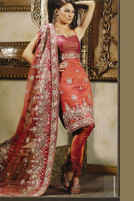 Coral Orange Embroidered Wedding Salwar Kameez