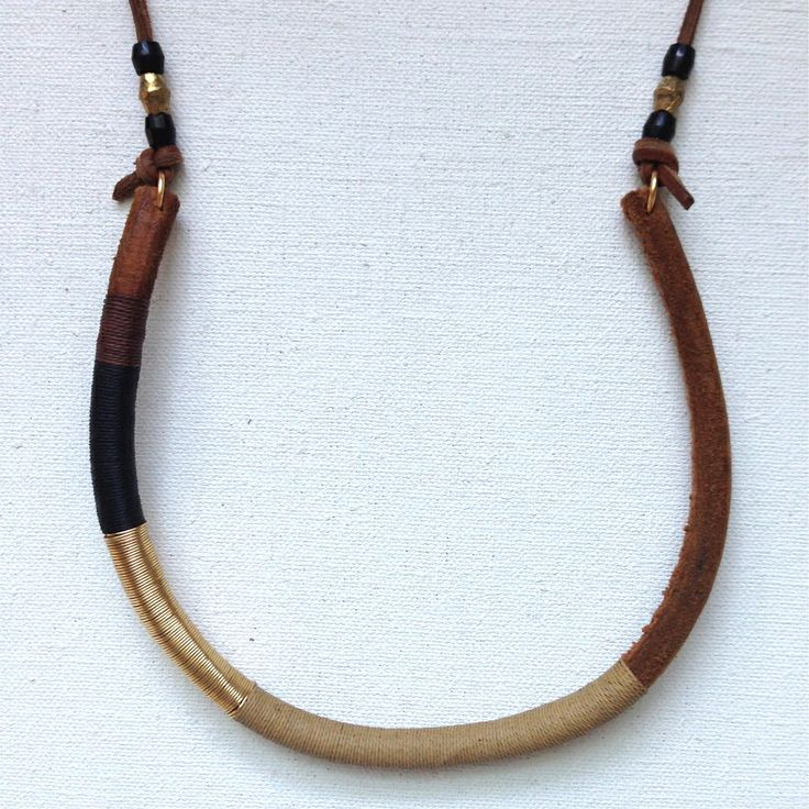 Wrapped leather necklace by den amp delve
