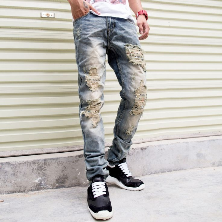 Cheap Jeans, Buy Directly from China Suppliers:                              men's jeans 2014 fashion brand designer jeans men Distrressed ripped white jeans calc