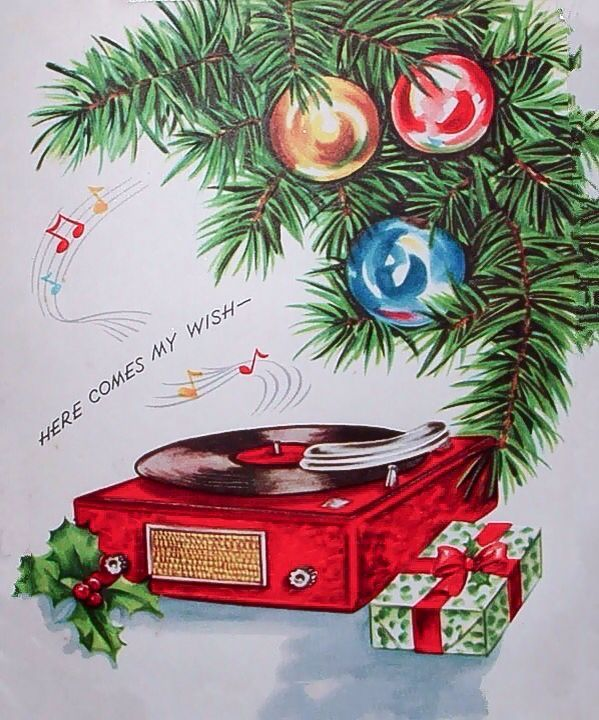 Record Player Under Christmas Tree W Ornaments Vintage Card