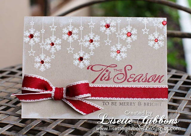 Supplies: Cardstock: Bazzill Basics Paper (Kraft) | Clear Stamps: Papertrey Ink (Big & Bold Holiday Wishes, Friendship Jar Holiday Fillers) | Rhinestones: Me and My Big Ideas | Ink: Staz'On (Jet Black, Blazing Red, Cotton White), Versamark | Ribbon: Be Inspired | Embossing Powder: white