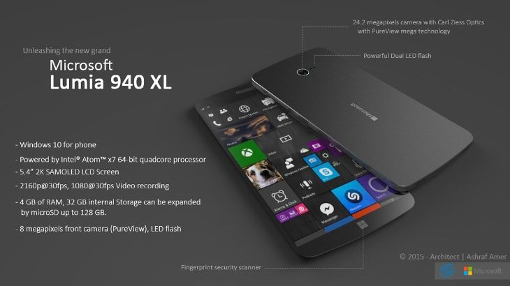 Microsoft Lumia 940 XL design