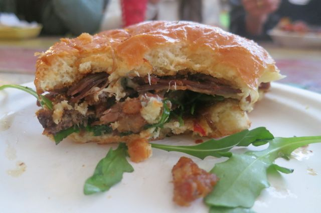 Duck Confit on Brioche in Camden Town. Yummy with blue cheese and honey and arugula.