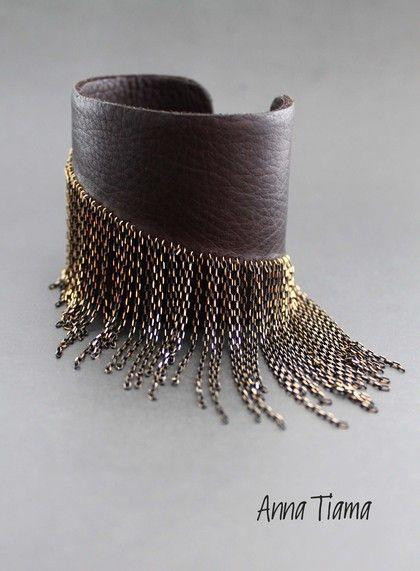 Браслеты ручной работы. Ярмарка Мастеров - ручная работа Кожаный браслет с цепочками. Handmade.