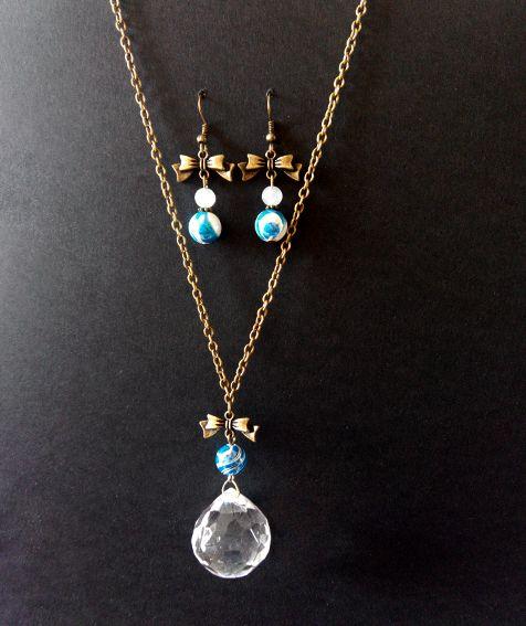 Pearl addict parure collier et boucles d'oreilles