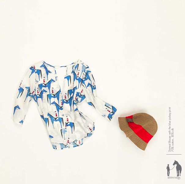 Blue Jockeys print, Damsel blouse