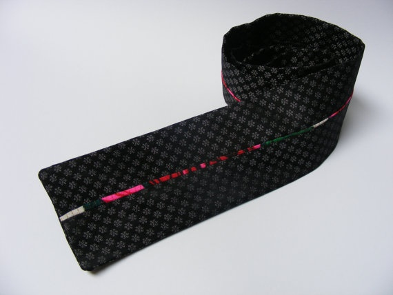 Men's Necktie with Colorful Piping - $25 - This hand-sewn black tie features a silver floral pattern and has a 122 cm length and 7 cm width.