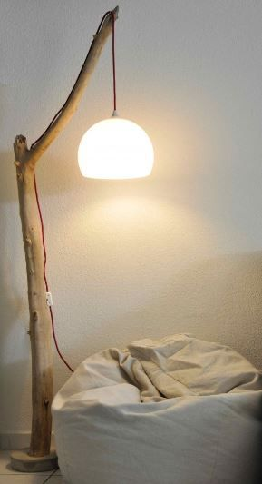 driftwood floor lamp with cement base                 Knitwear  driftwood floor lamp by Dutch Dilight