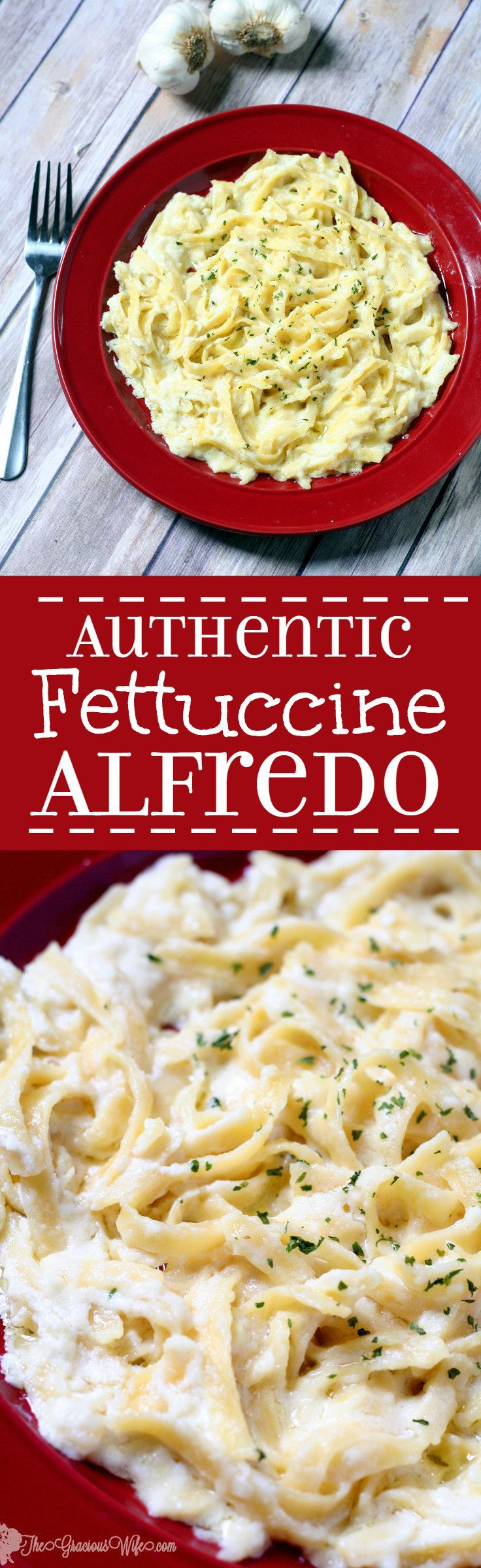 Authentic Fettuccine Alfredo Recipe is a heavenly, easy and quick pasta dinner idea combination of butter, cream, and Parmesan to make a smooth creamy REAL Alfredo sauce recipe. That's it! Super quick and easy dinner! Also great with added garlic and chicken!  One of my absolute all-time favorites! Sooo delicious!