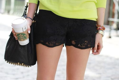Neon + shorts: Fashion, Style, Clothes, Dream Closet, Neon, Outfit, Spring Summer, Black Lace Shorts, Black Laces