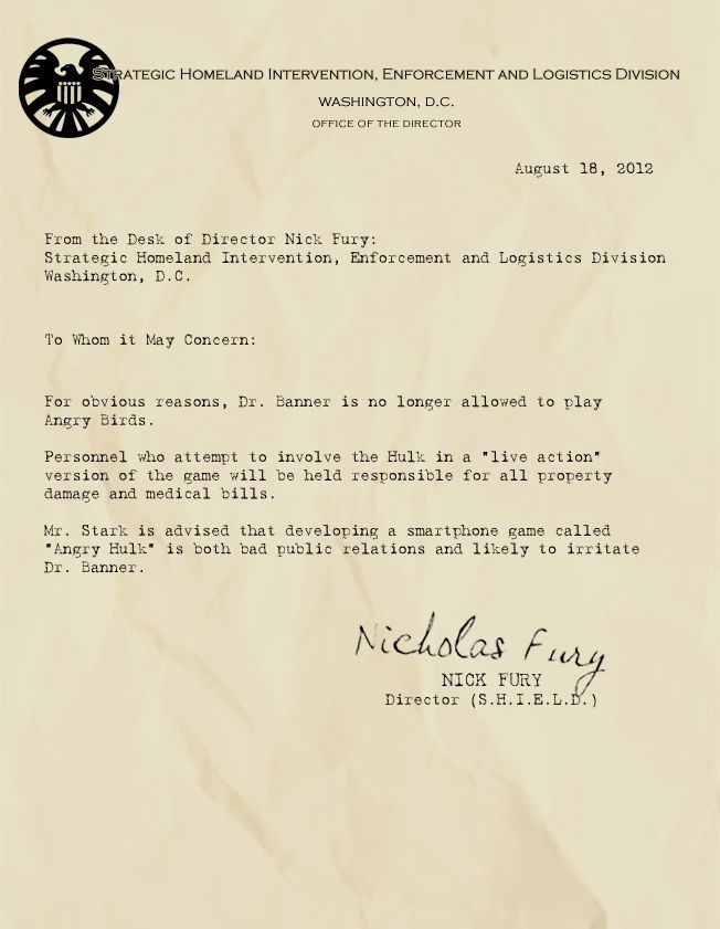 from the desk of nick fury.