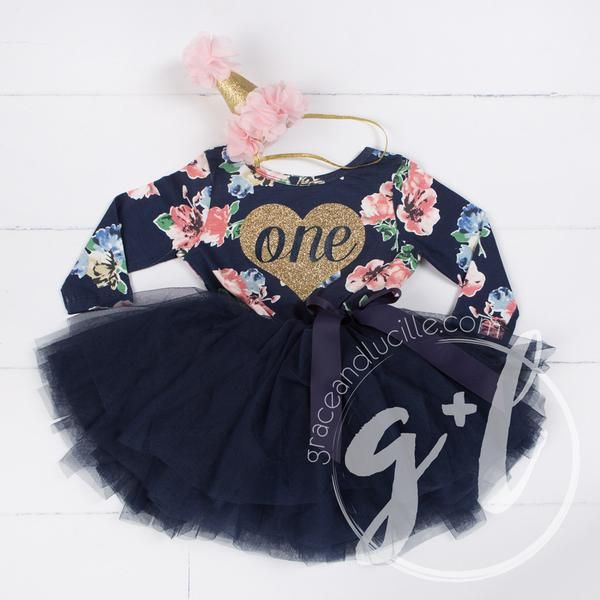 First Birthday Dress Gold Heart with ONE on Navy Floral Long Sleeves