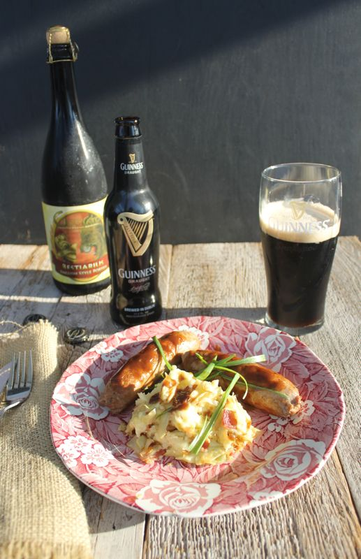 BANGERS AND COLCANNON WITH BROWN SUGAR GUINNESS GRAVY