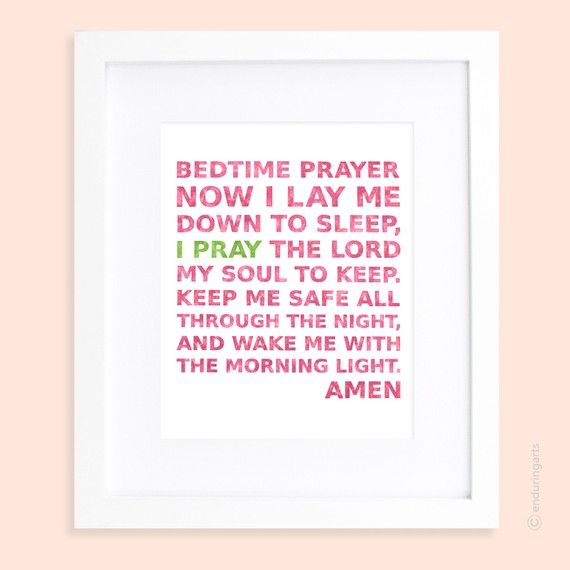 Little Girls Bedtime Prayer in Hibiscus Pink with Pop of Lime. $15.00, via Etsy.