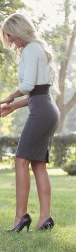 Tight Gray Pencil Skirt White Blouse Sheer Pantyhose Wide Black ...