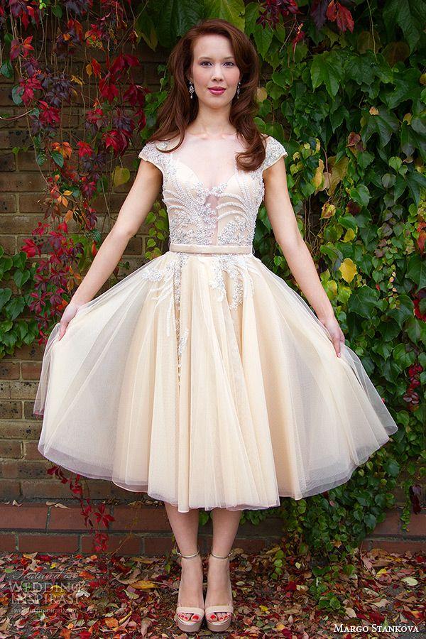 margo stankova 2015 bridal wedding dresses cap sleeves sheer plunging neckline beaded lace silk organza short tea length gown dorota