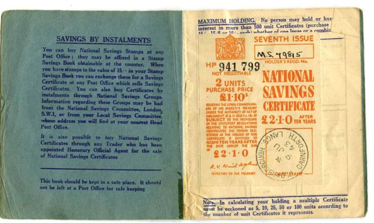 A £1.50 National Savings certificate from 1943, still in its original booklet SUBMITTED maureen-oct-03