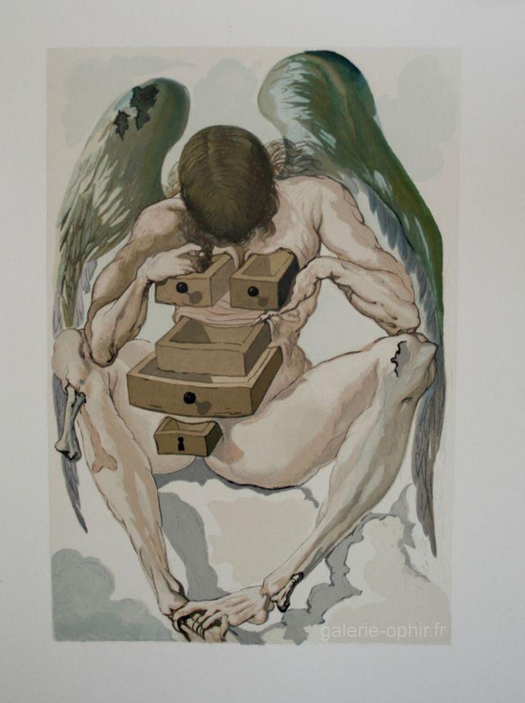 Salvador DALI : L'Ange déchu, la divine comédie de Dante DALI Salvador GO0047 : Galerie d'Ophir : Galerie d'Art, Lithographies, Dessins, Peintures