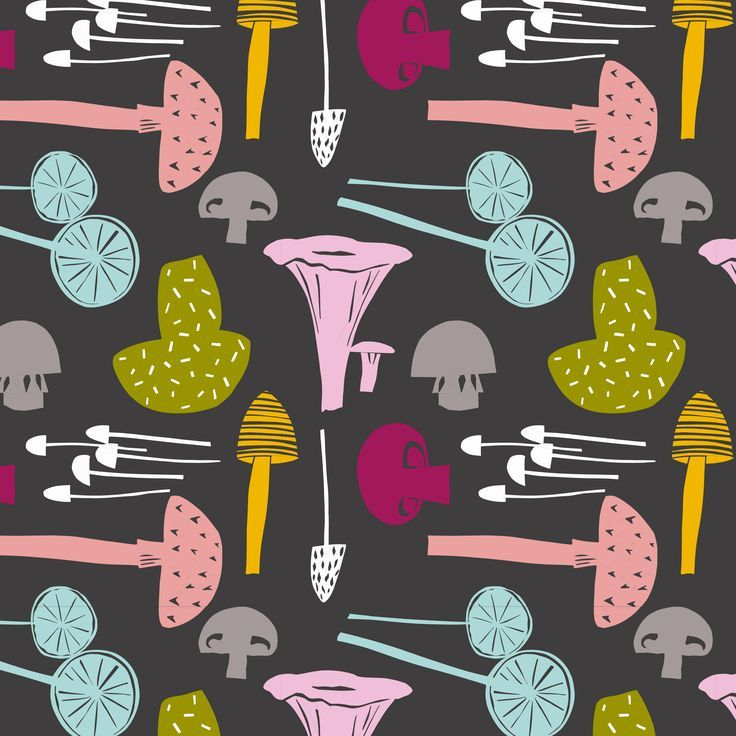 mushrooms pattern. bold and colourful repeat pattern available to licence.