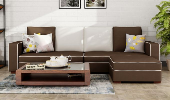 Buydelos L Shape Right Aligned Corner Sofa Classic Brown Online In India Wooden Street In 2020 Sofa Couch Design Classic Sofa Couch Design