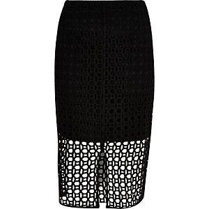 Black circle lace pencil skirt