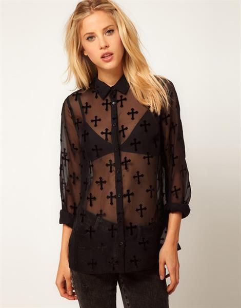 Блузка черная сетка