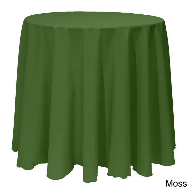 Solid Color 90 Inch Round Vibrant Color Tablecloth   90 (Moss), Green