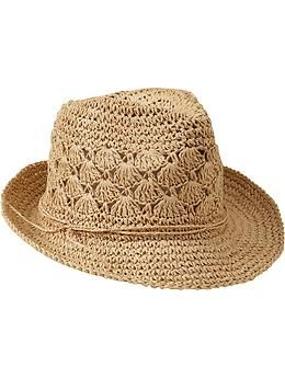 Women's Crochet-Straw Fedoras