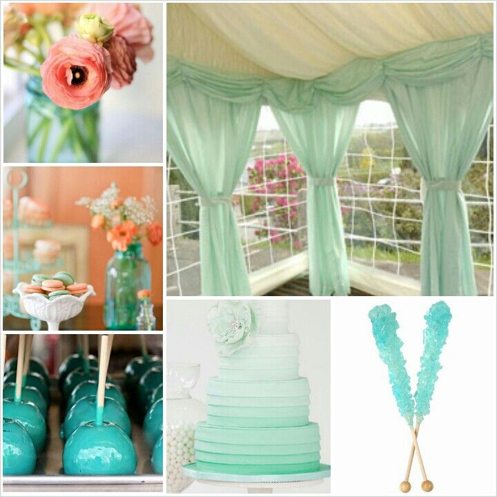 Retro mint/aqua, peach and gray wedding