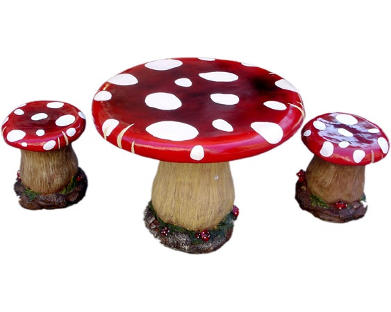 Loving this kitschy table and stools!  Maybe for an artist's studio?