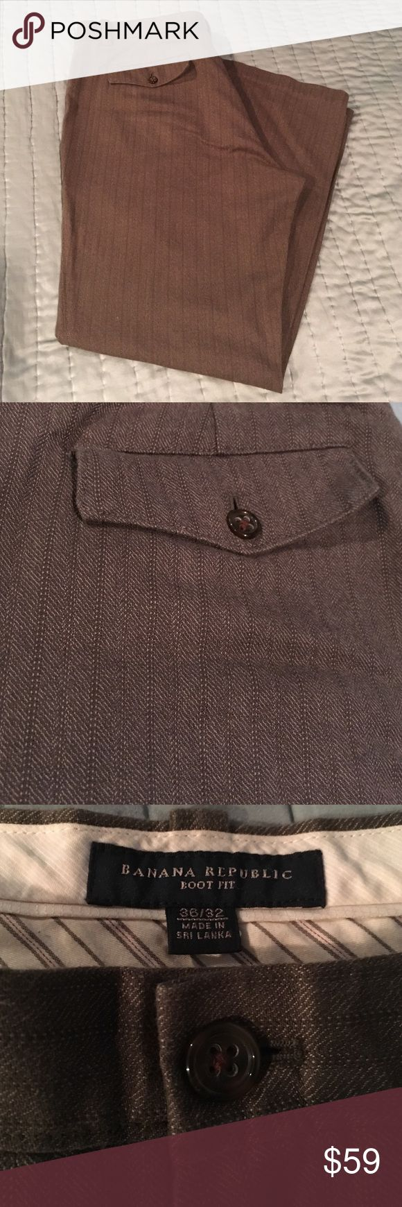 Banana Republic slacks Only worn once! Medium brown slacks with subtle pin stripe. Boot cut fit. Unaltered. Pant hem is in perfect condition. No marks or tears. Offers welcomed Banana Republic Pants Dress