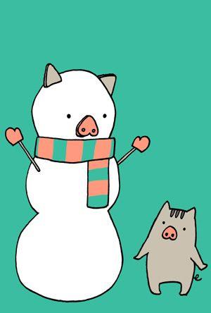 かわいい猪と雪だるまの亥年年賀状イラスト大きい画像ダウンロードは