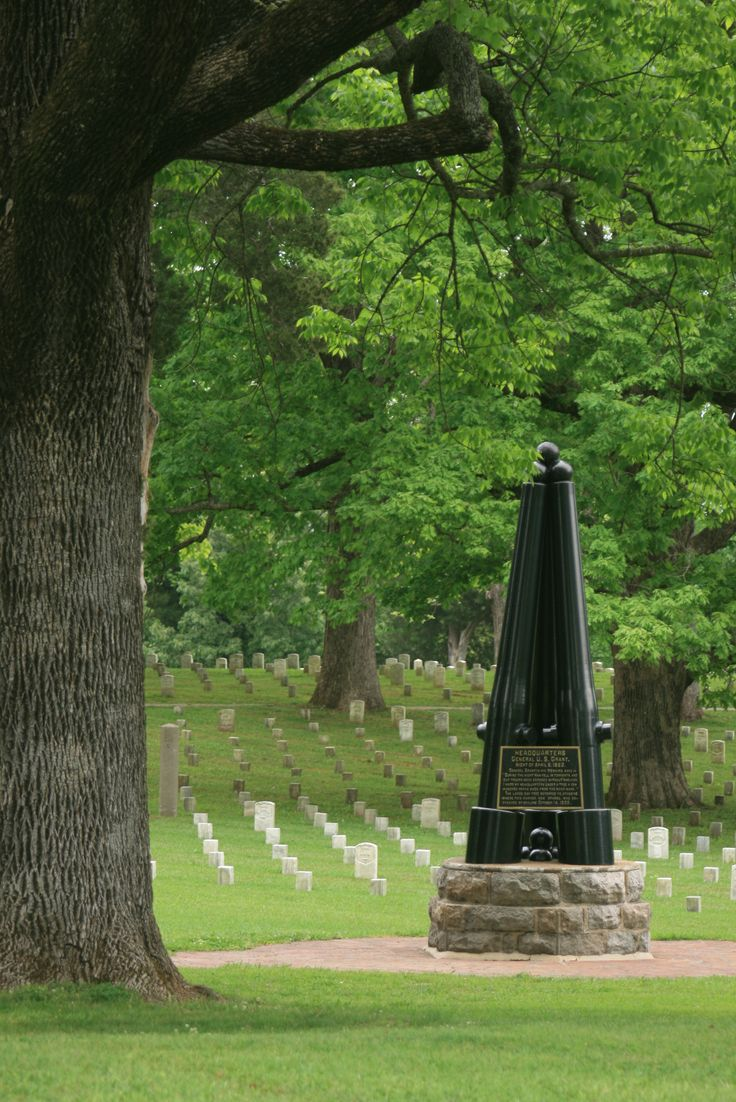 Shiloh National Military Park, south of Savannah, Tennessee - The monument marks where a huge Oak tree was that General Grant bedded down for the nite, refusing General's quarters so that he could be with his men.  Now so quiet, hard to believe such carnage took place there. ck