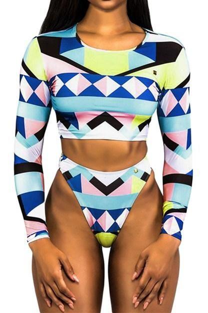 4e997a455 Geometric Colorblock Long Sleeve High Waist Tankini Swimsuit MB410538 –  ModeShe.com