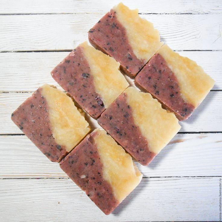 Купить Натуральное мыло с вишневой пудрой и шелком - натуральное мыло, мыло с нуля