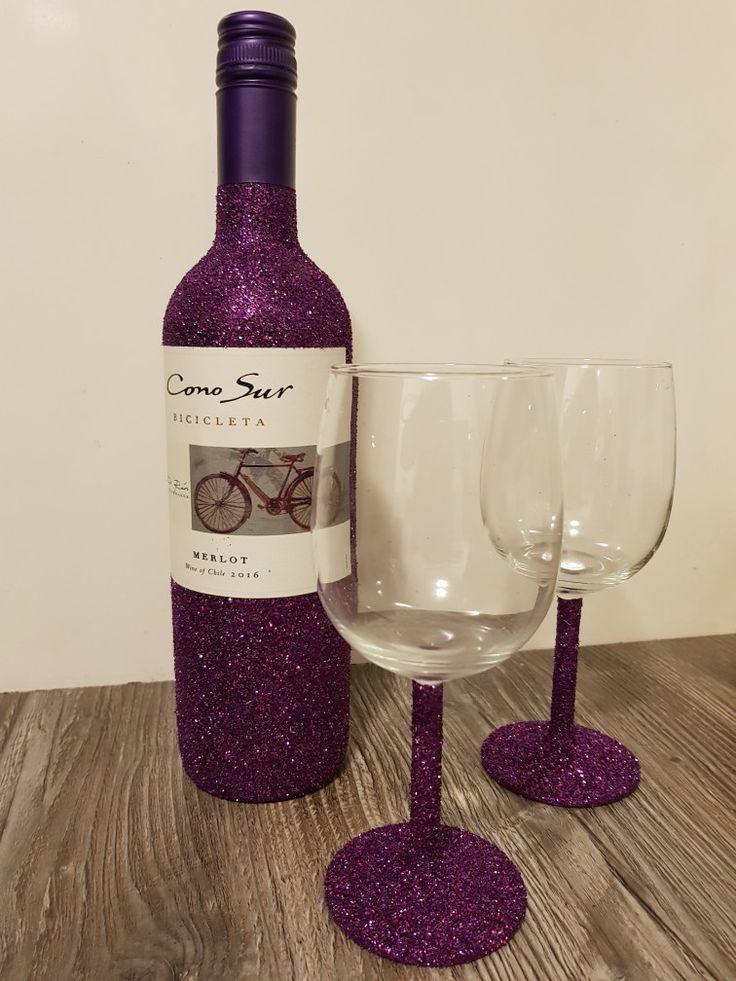 Purple glitter wine bottle glasses paars wijn
