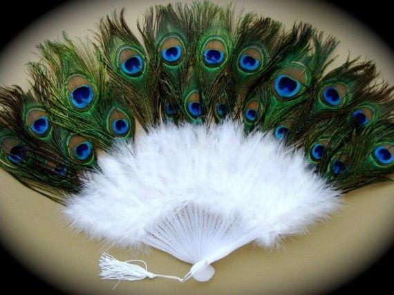 Éventail plume de paon et oie