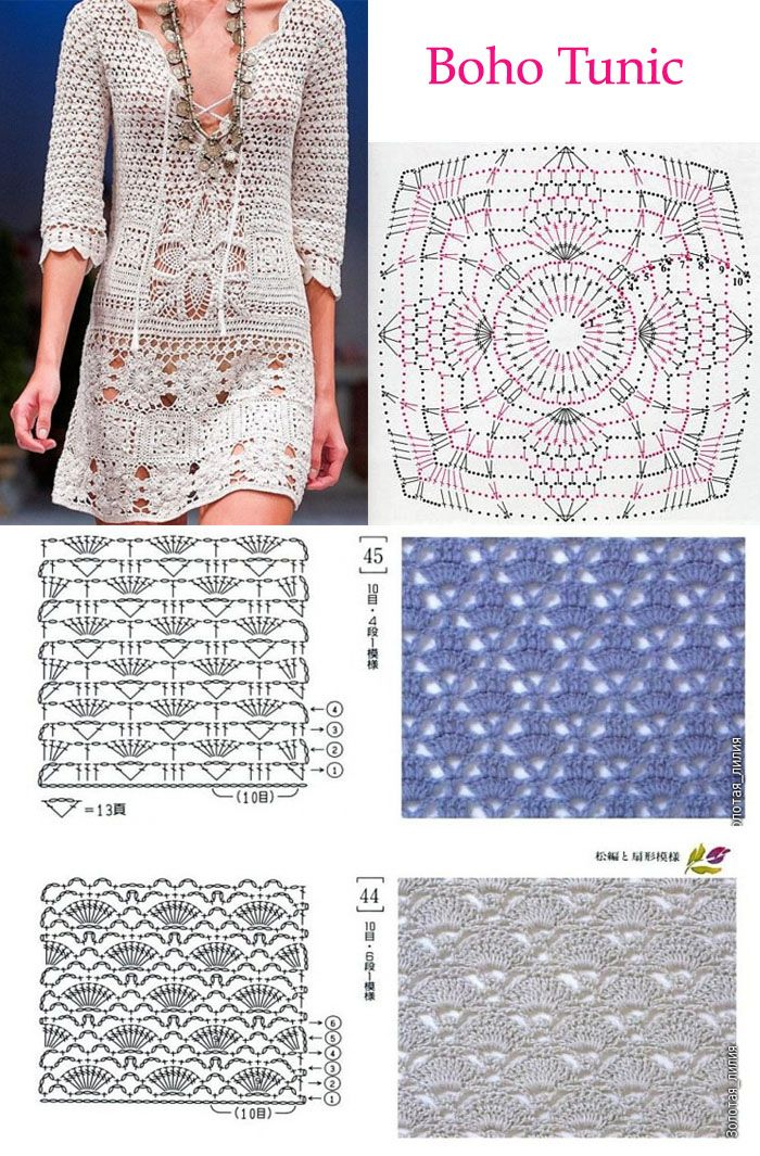 Crochet designer dress PATTERN, detailed TUTORIAL for every row + HQ charts…