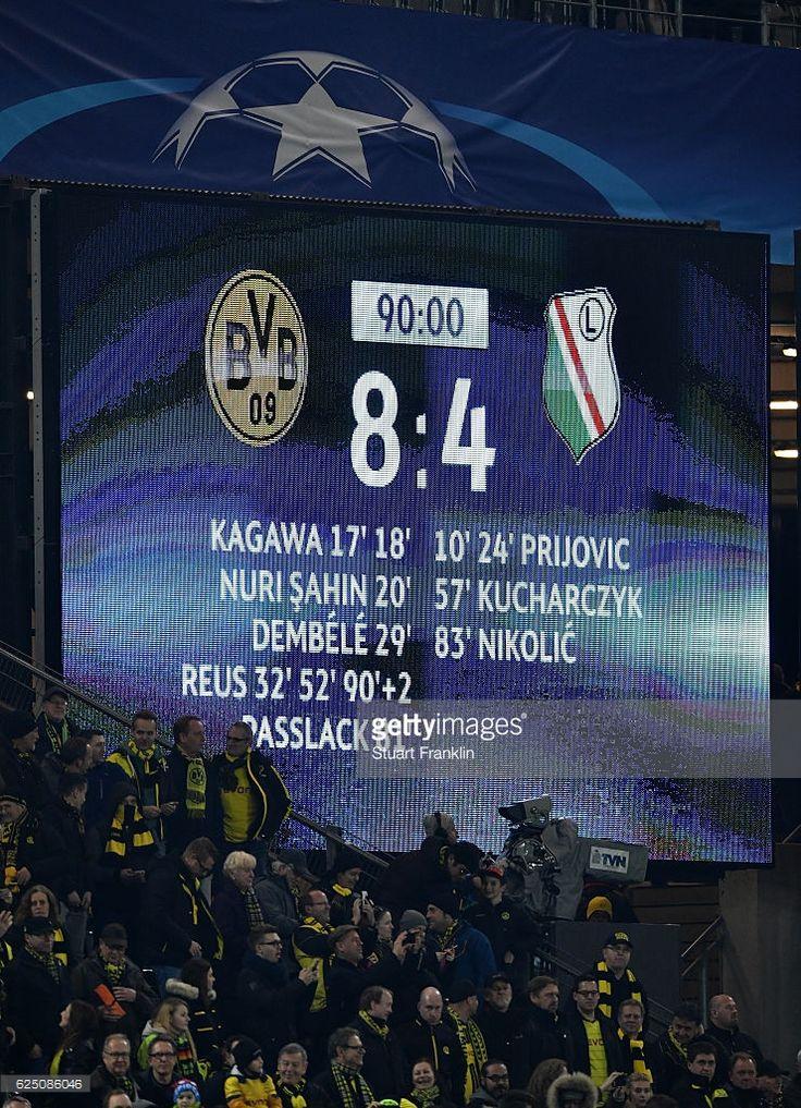 The scoreboard displays the recordbreaking Champions Legue score during the UEFA Champions League Group F match between Borussia Dortmund and Legia Warszawa at Signal Iduna Park on November 22, 2016 in Dortmund, North Rhine-Westphalia.