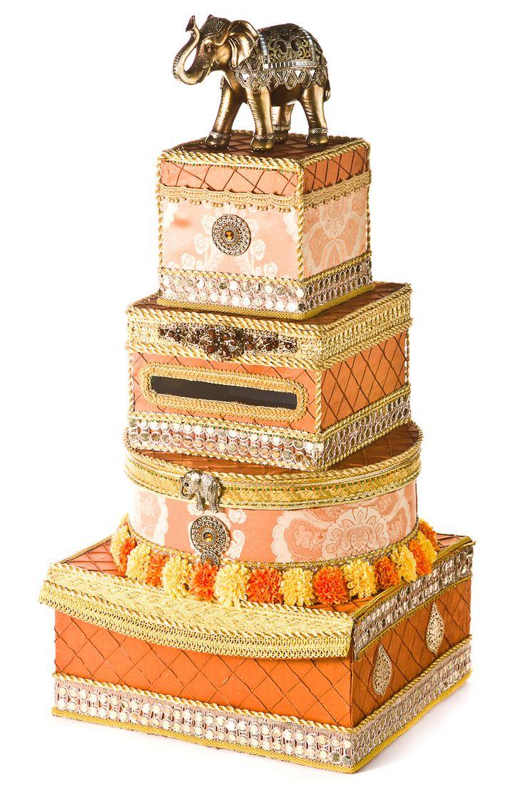 Orange and gold East Indian wedding card box
