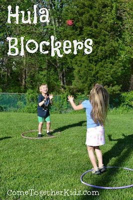 Hula Blockers - You only need a couple hula hoops and a beanbag to play this fun game